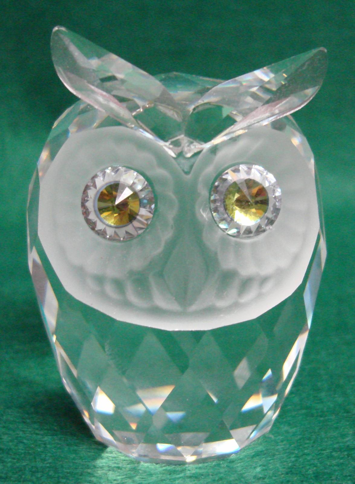 Swarovski Crystal Large Owl Signed Swarovski Yellow Green Eyes | eBay